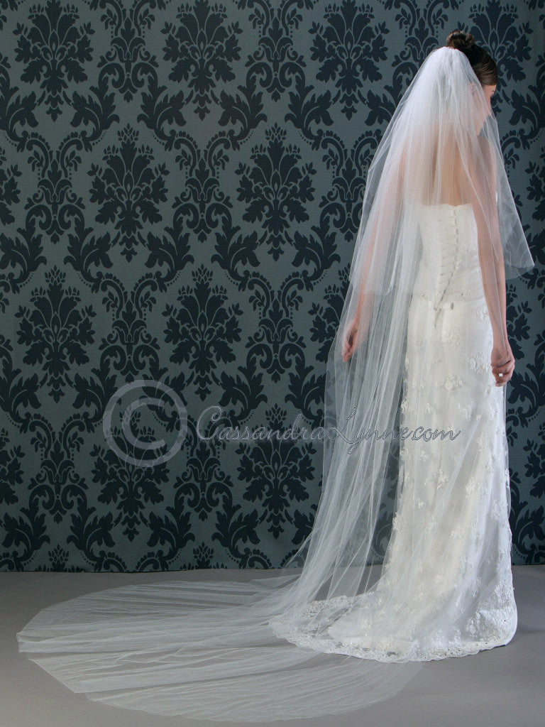 108 Inch Cathedral Veil with Plain Cut Edge
