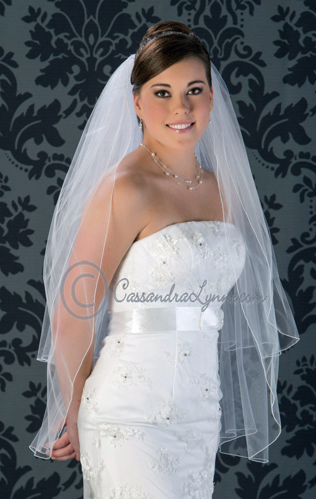Two Layer Bridal Veil 36 Inch with Corded Edge