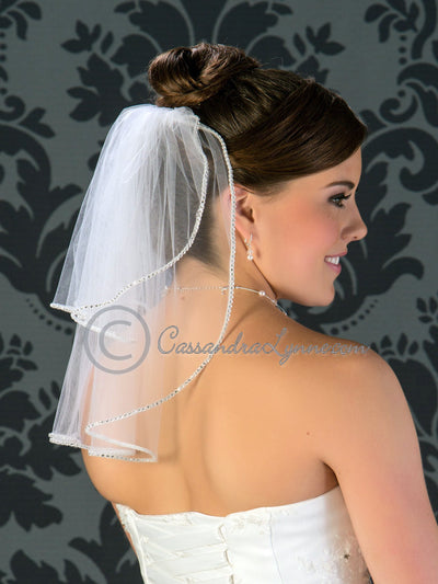 Two tier rhinestone trim veil