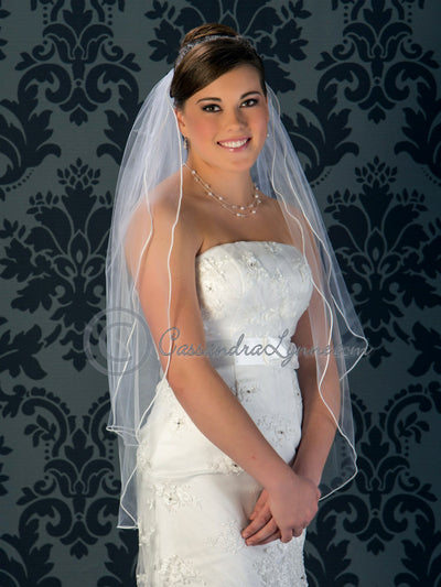Soutache two layer fingertip bridal veil.