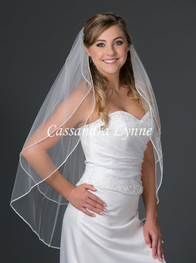 Two Tier Fingertip Bridal Veil with Rhinestone Trim