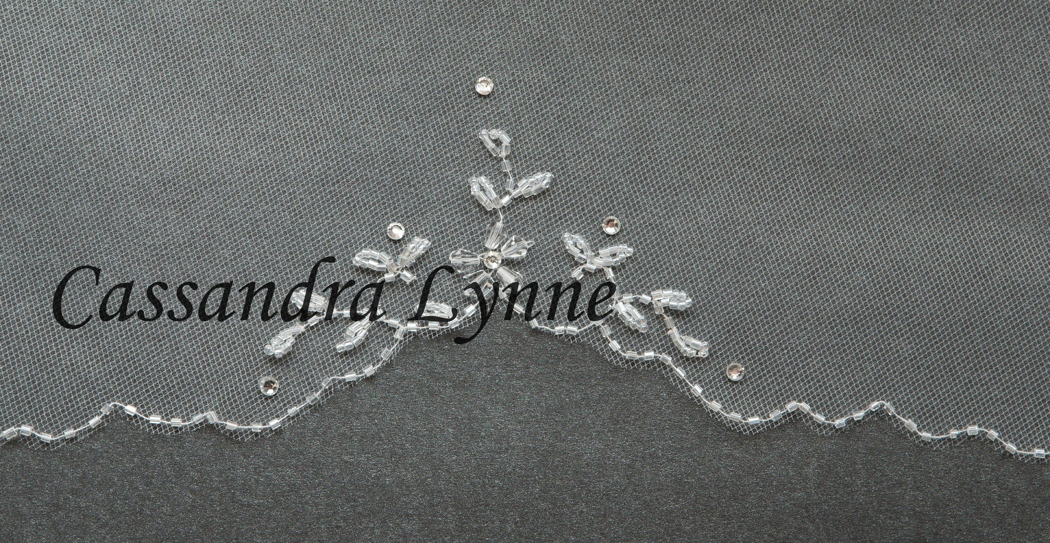 Short Bridal Veil with Crystal Beaded Flowers and Beads