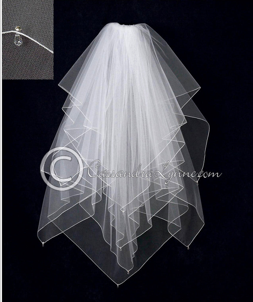 Wedding Veil with Crystal Drops Handkerchief Cut