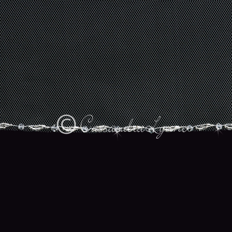 detail of crystal and silver bead edge