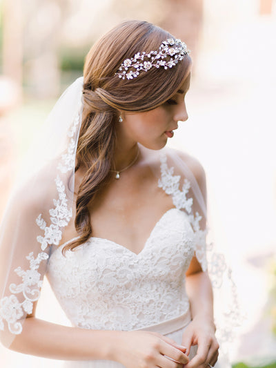Fingertip Veil with Seed Bead Flower Lace