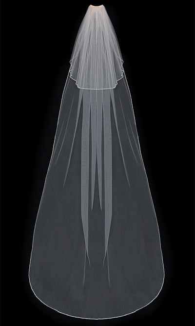 Cathedral Wedding Veil with Silver Bugle Bead Trim