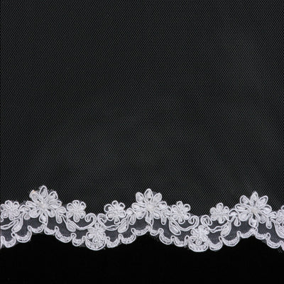 Lace flowers wedding veil