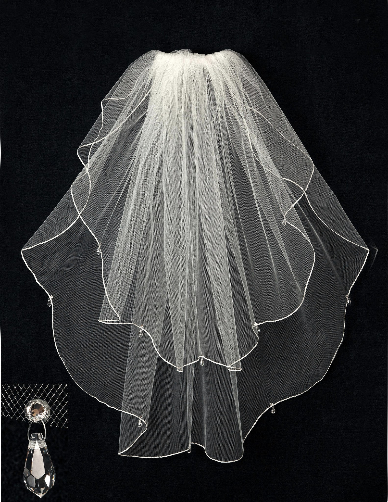 Scalloped Bridal Veil with Crystal Drops