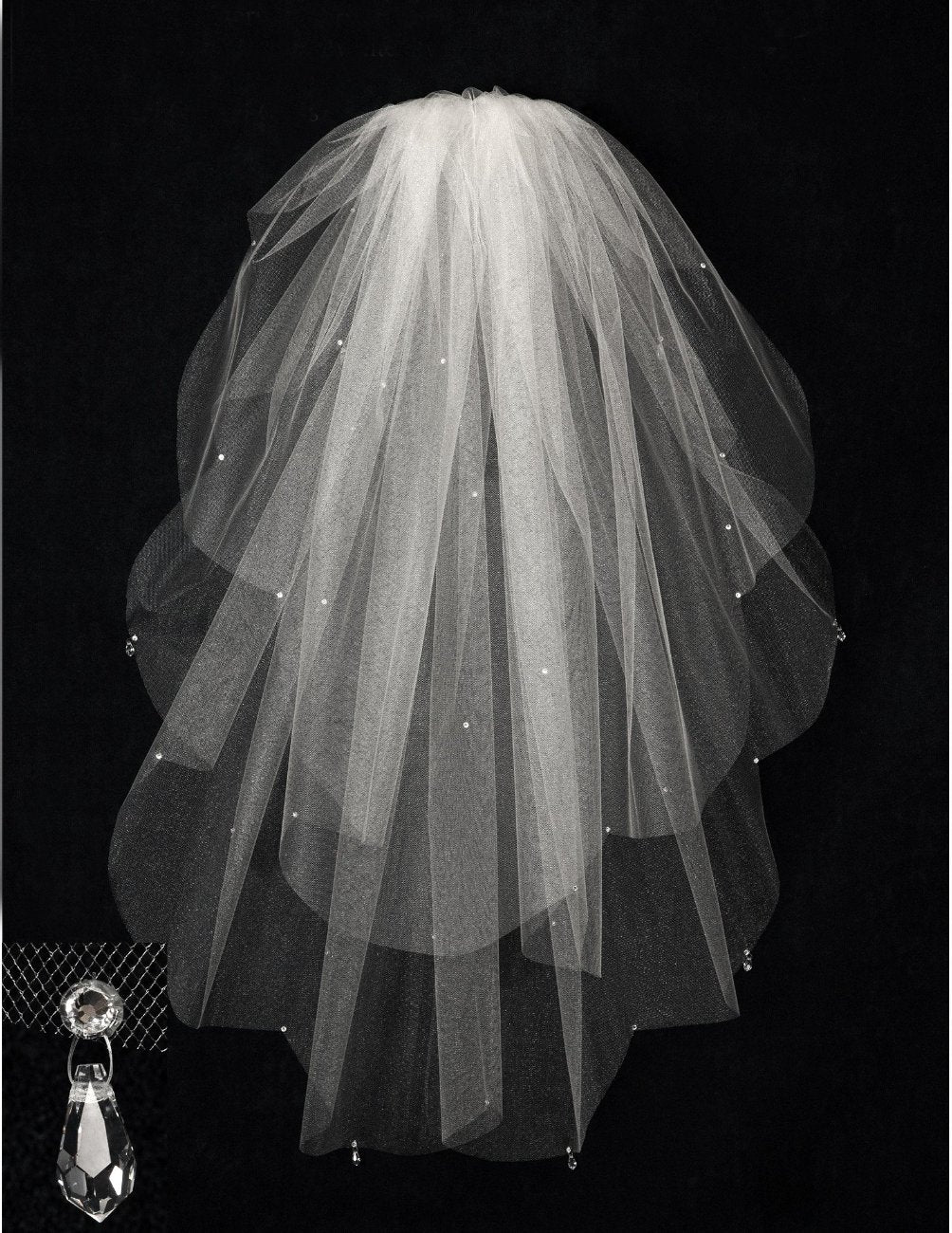 Cut Edge Scalloped Wedding Veil with Crystal Drops