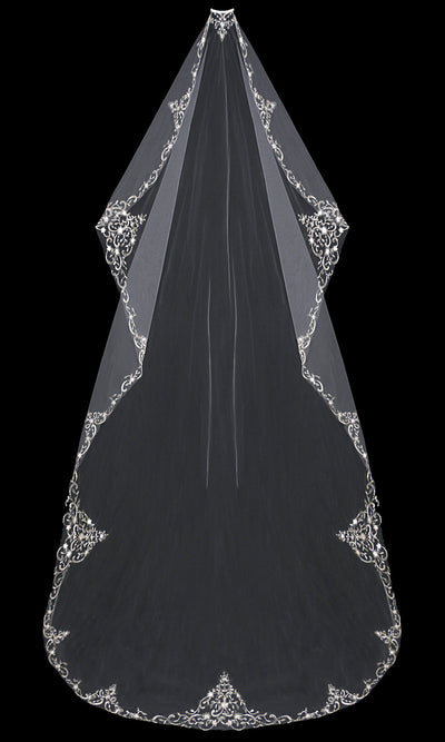 Mantilla Wedding Veil with Silver Embroidery