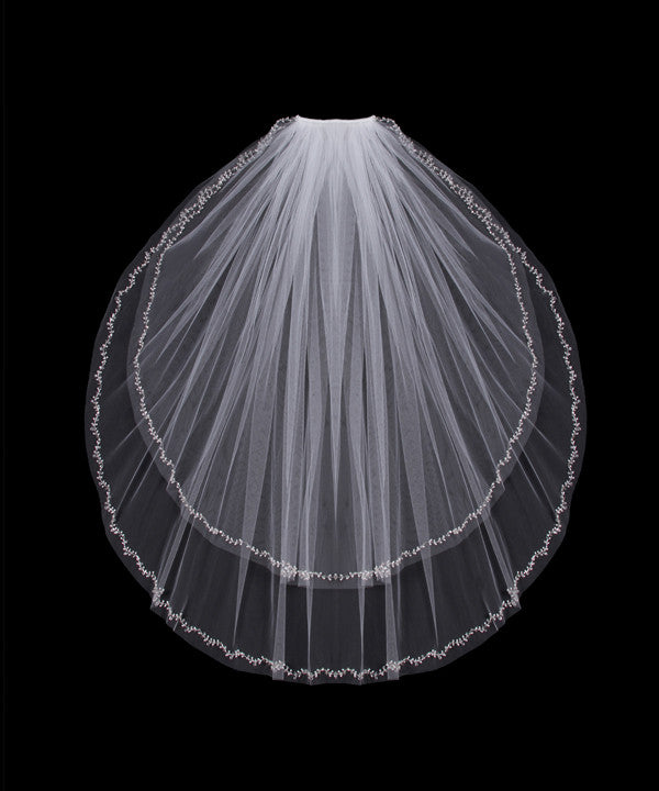 Two layer finger tip wedding veil.