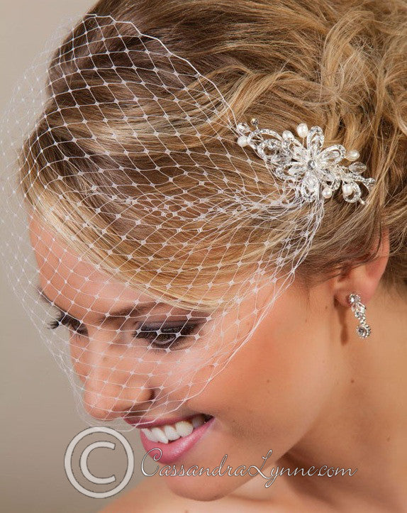 Visor veil with crystal beaded and pearl comb.