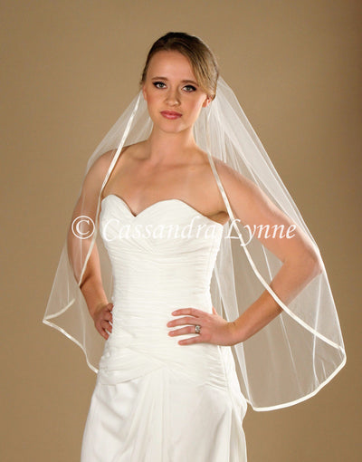 "36 Inch Bridal Veil with 3/8"" Satin Trim"