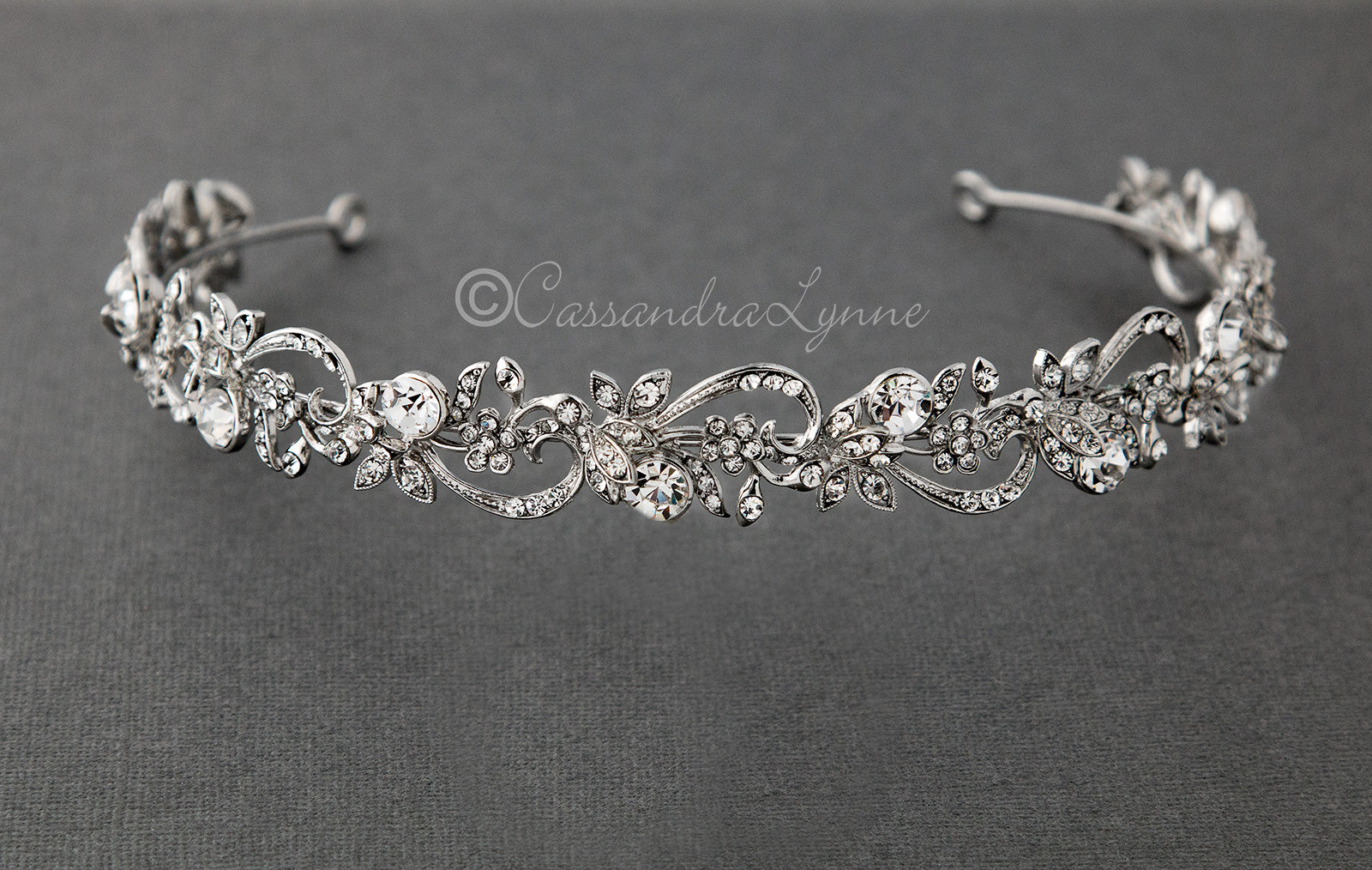 Antique Silver Wedding Headband with Crystals