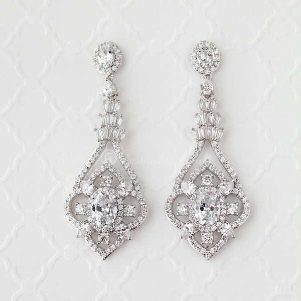 Clip-On CZ Bridal Jewelry Earrings with Antique Flair