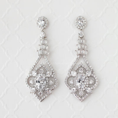 Sterling Silver CZ Bridal Jewelry Earrings with Antique Flair