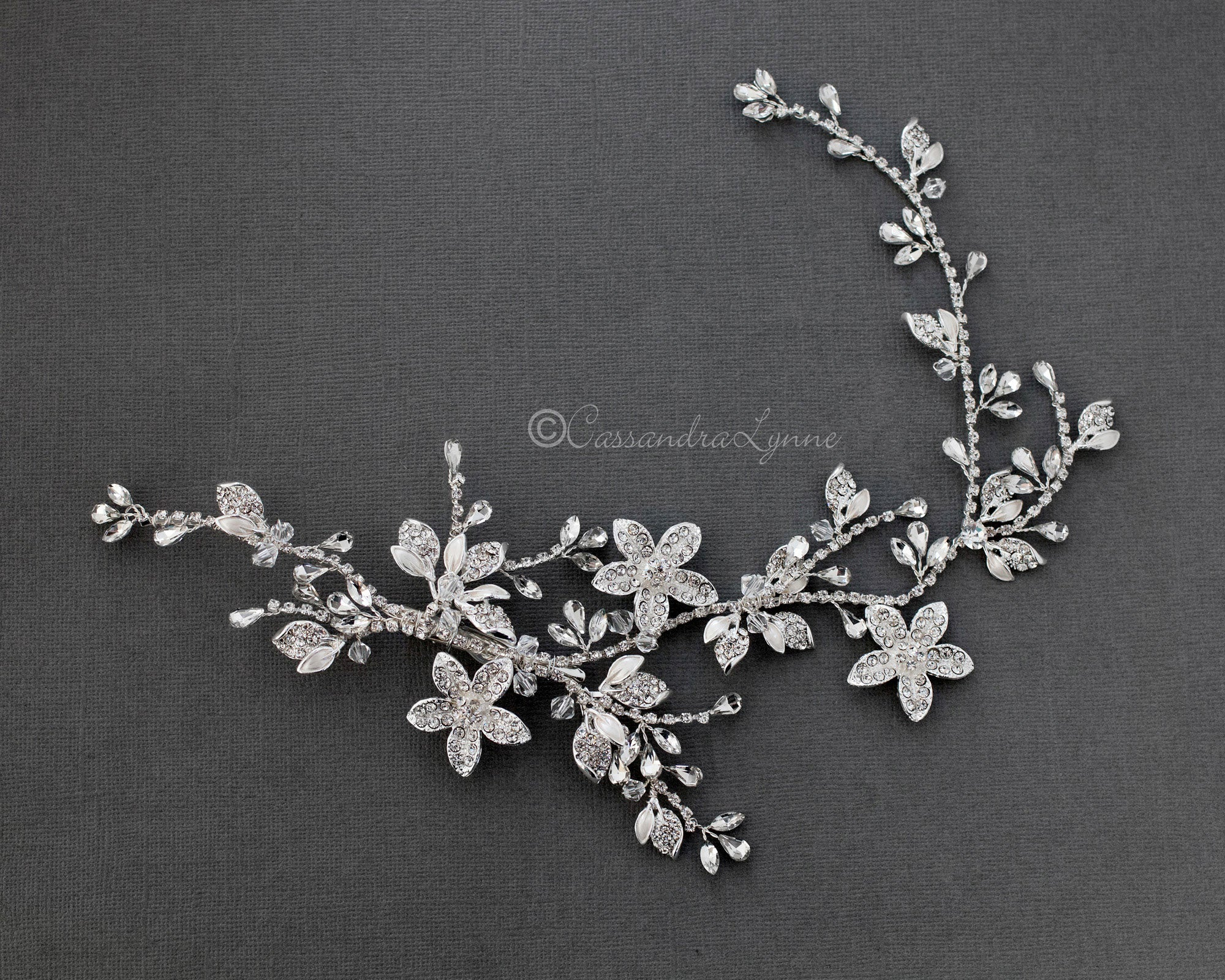 Bridal Vine Headpiece with Crystal Flowers