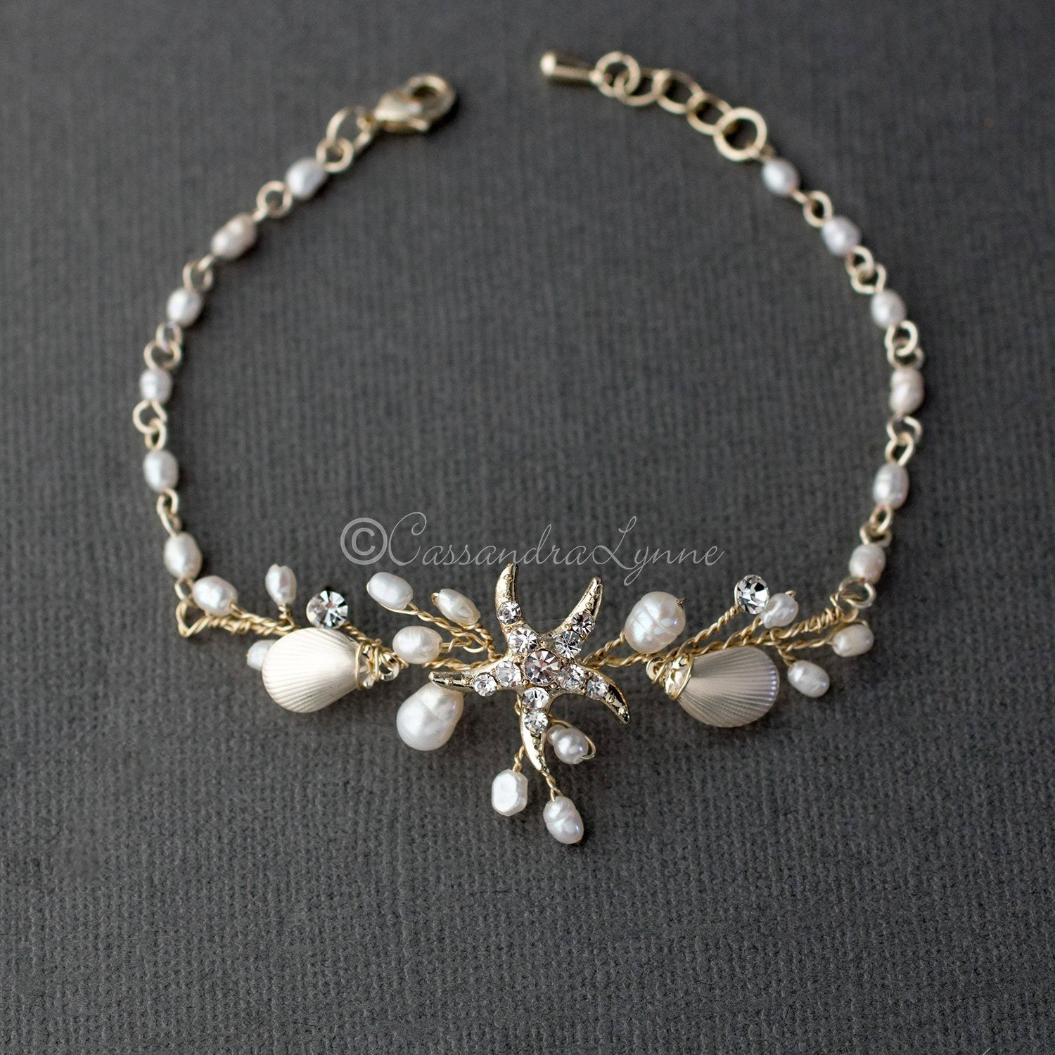 Gold Beach Wedding Bracelet with Starfish