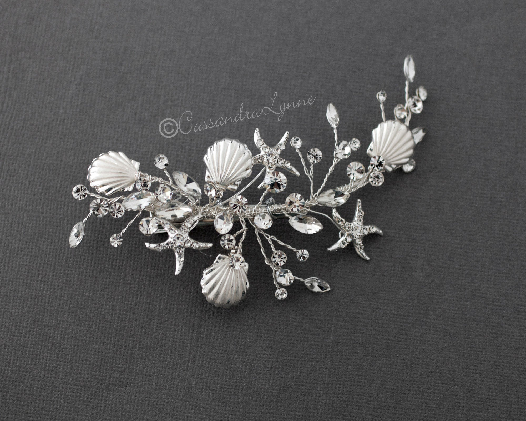 Matte Silver Shells and Starfish Beach Bride Clip