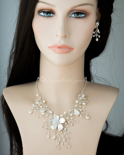 Bridal Necklace of Shell Flower and Pearls