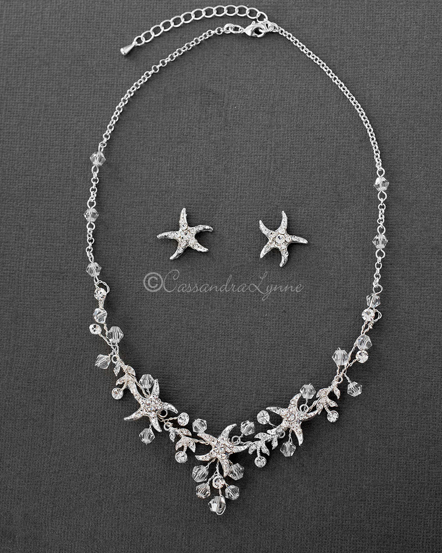 Beach wedding jewelry cassandra lynne beach wedding necklace with crystals and starfish junglespirit Image collections