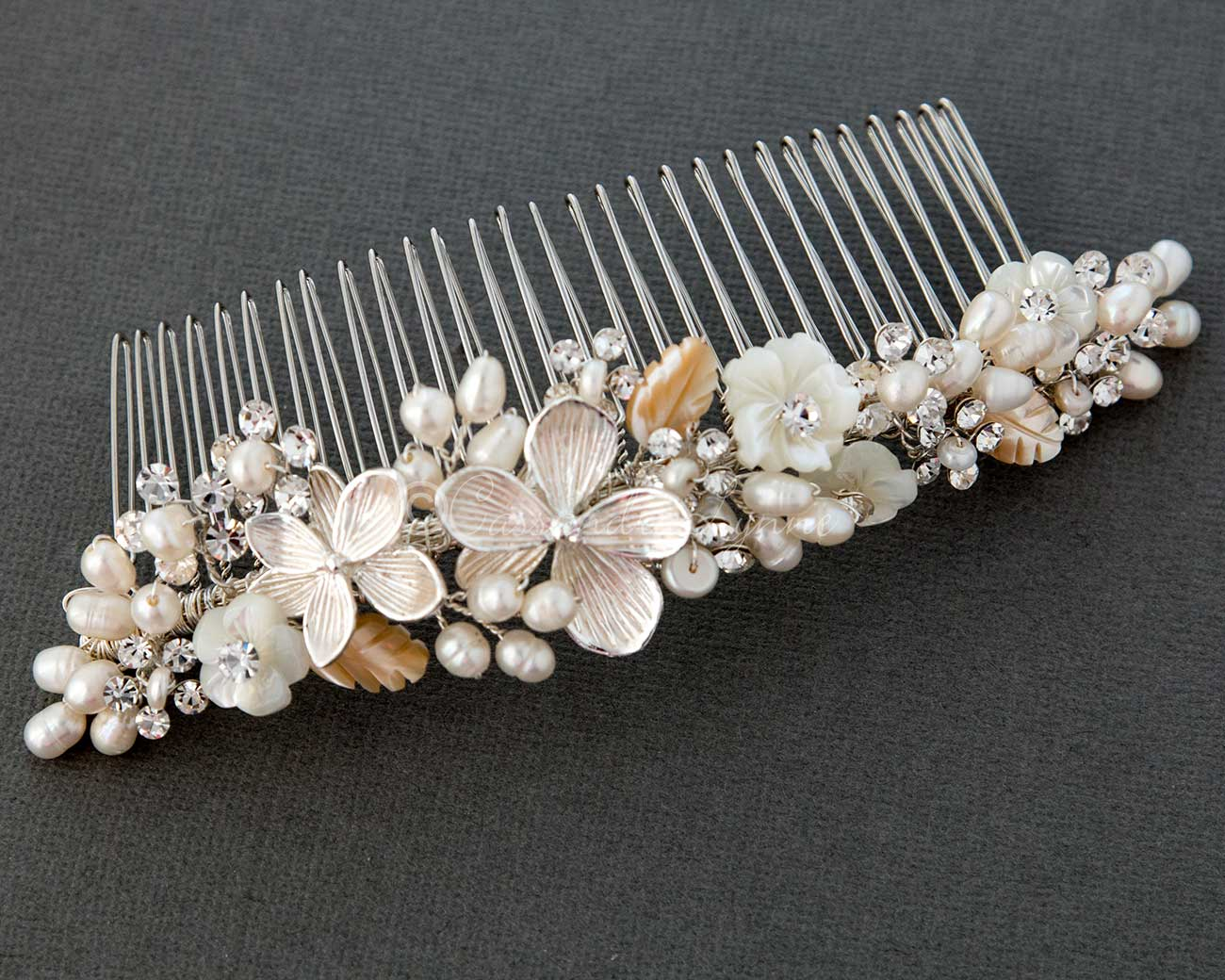 Bridal Comb of Shell Flowers and Leaves