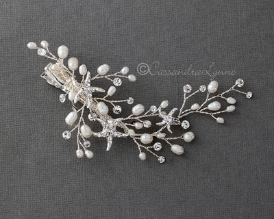 Beach wedding hair clip with starfish and pearls