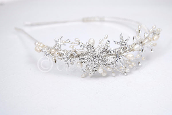Beach Wedding Headband with Freshwater Pearls and Jeweled Starfish