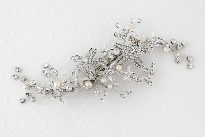 Beach Wedding Hair Clip of Starfish and Pearls