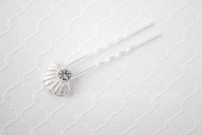 Bridal Hair Pin Shell with Rhinestone