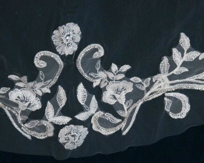 120 Inch Beaded Lace Applique Bridal Veil