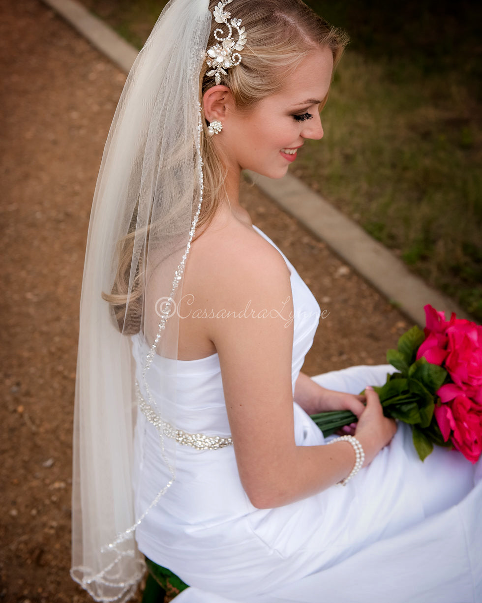 "Opaque Beads and Pearls 40"" Wedding Veil"