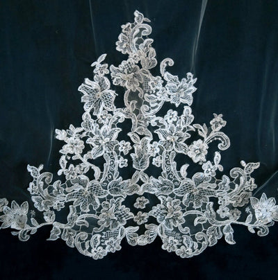 Beaded Lace Cathedral Bridal Veil