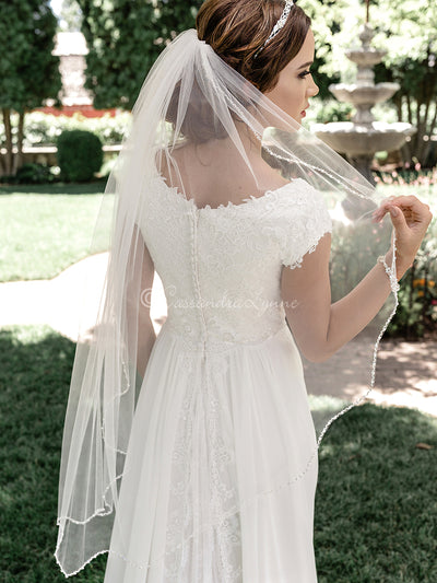 Wide Scallop Beaded Bridal Veil