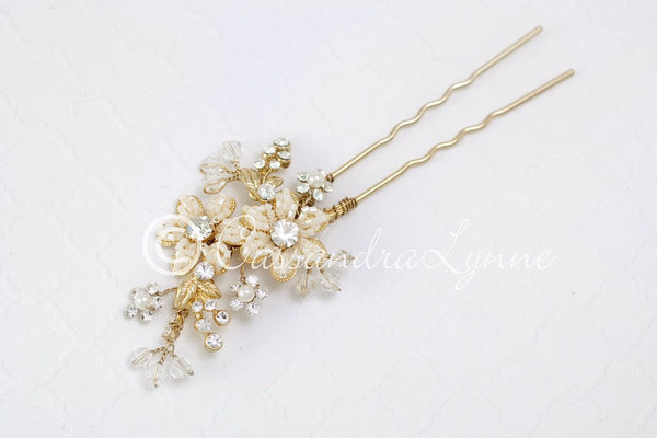 Crystal Wedding Hair Pin with Beaded Flowers