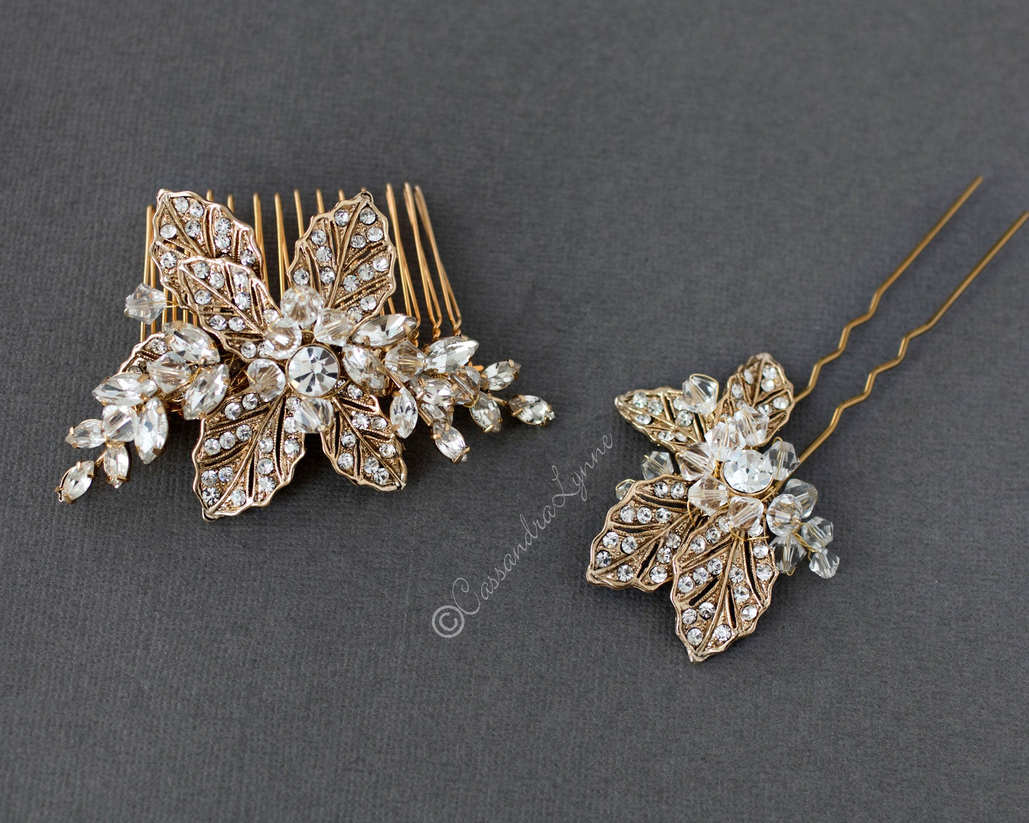 Gold Bridal Comb and Pin Set with Swarovski Crystals OOAK