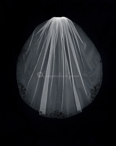 Ivory Fingertip Bridal Veil with Black Beading