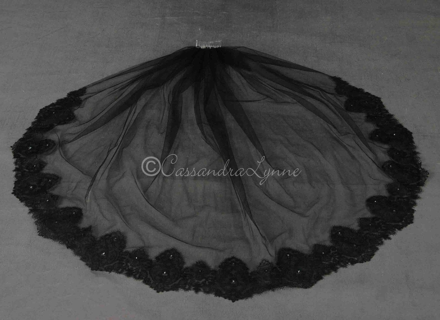 Black Lace Veil with Rhinestones