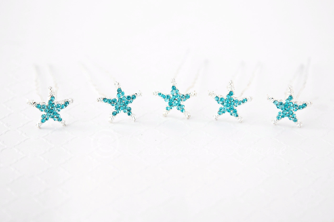 Blue Aqua Starfish hair pins