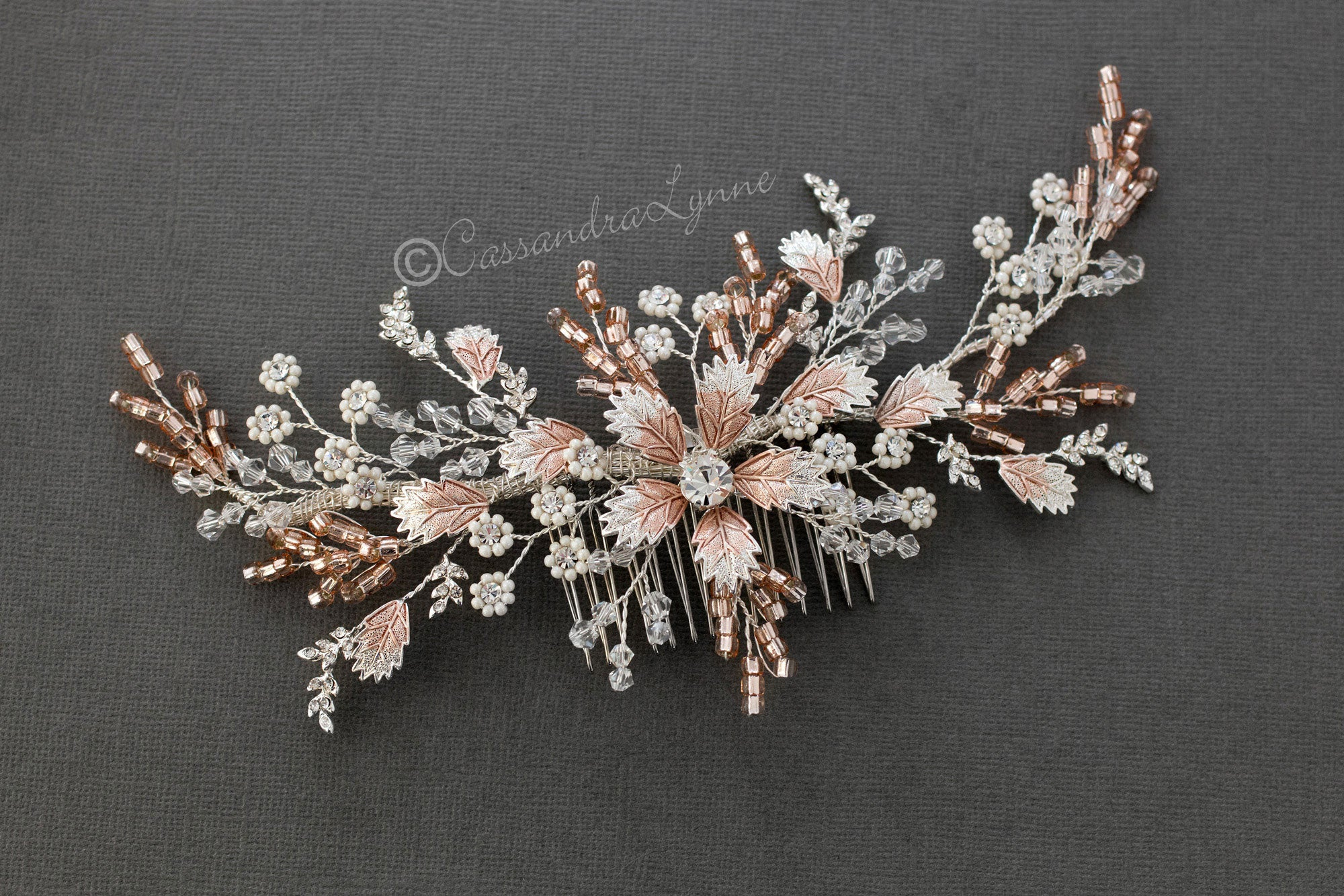 Rose Gold Beaded Bridal Hair Comb