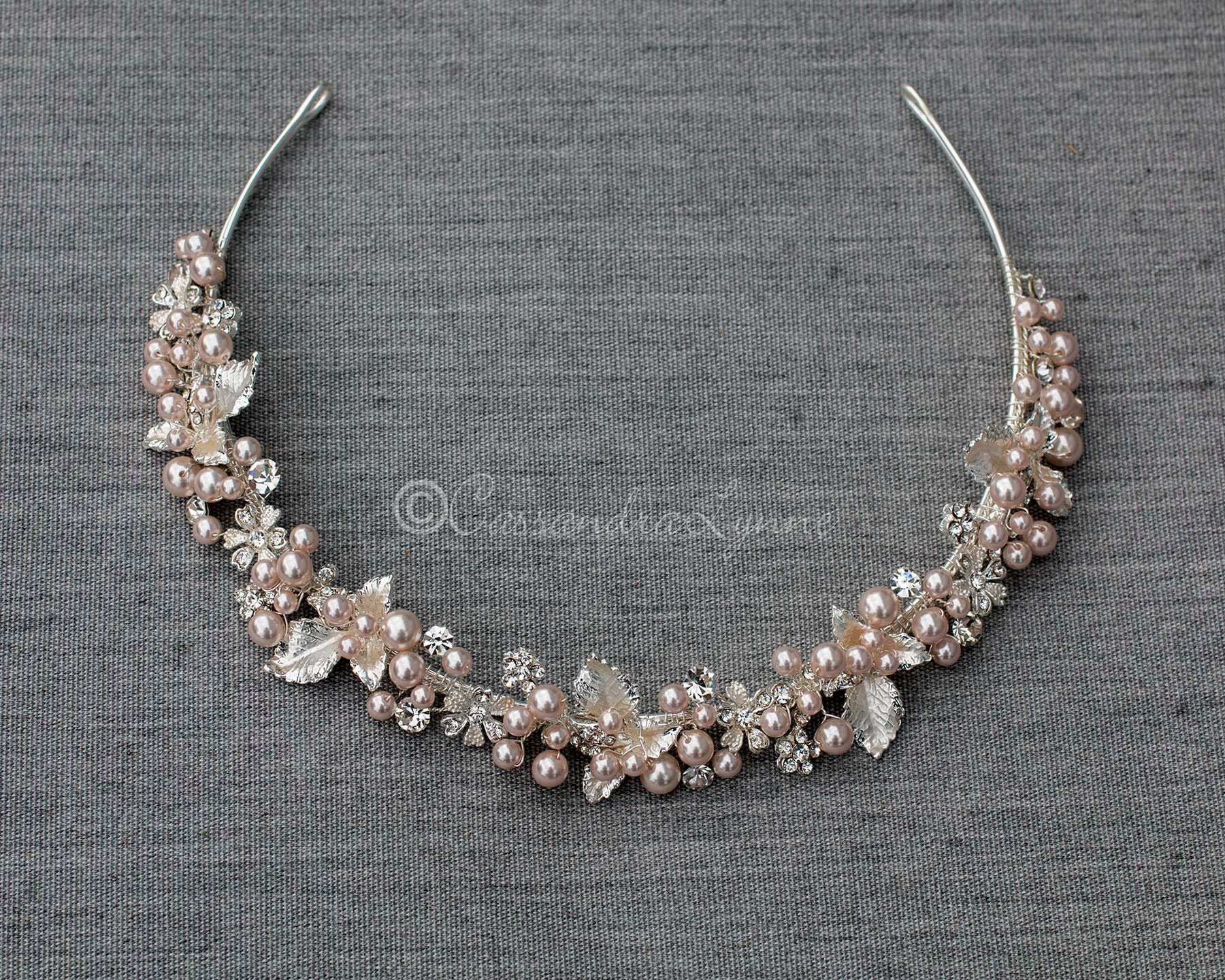 Bridal Headband of Blush Pearls and Leaves