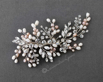 Ivory and Blush Pearl Crystal Hair Clip Set