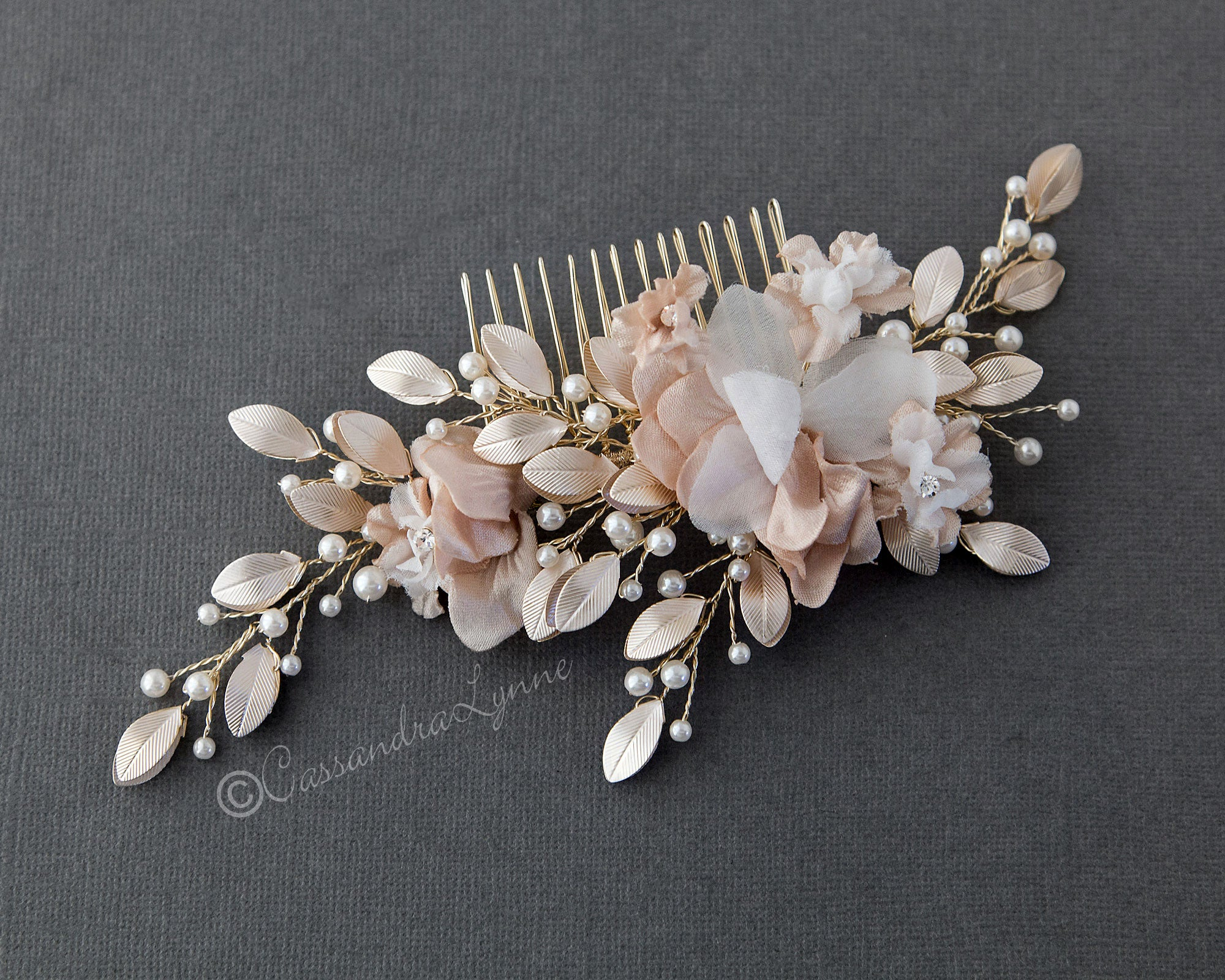 Bridal Hair Flower in Pink and Light Gold