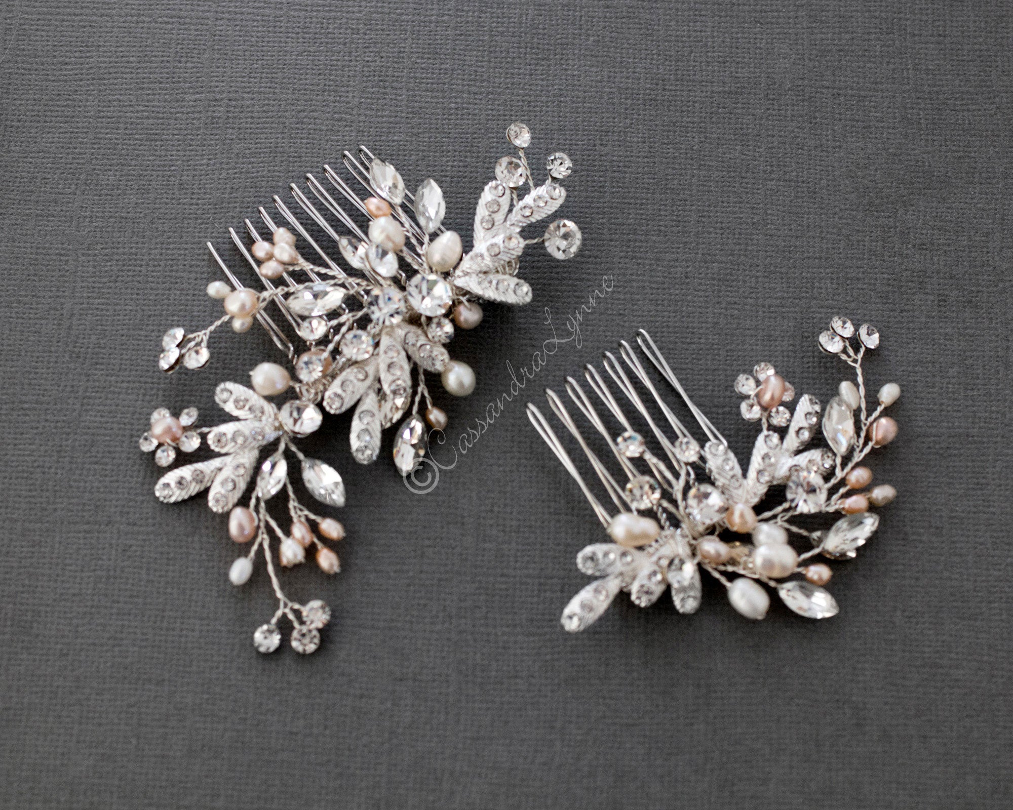 Wedding Comb Set with Blush Freshwater Pearls