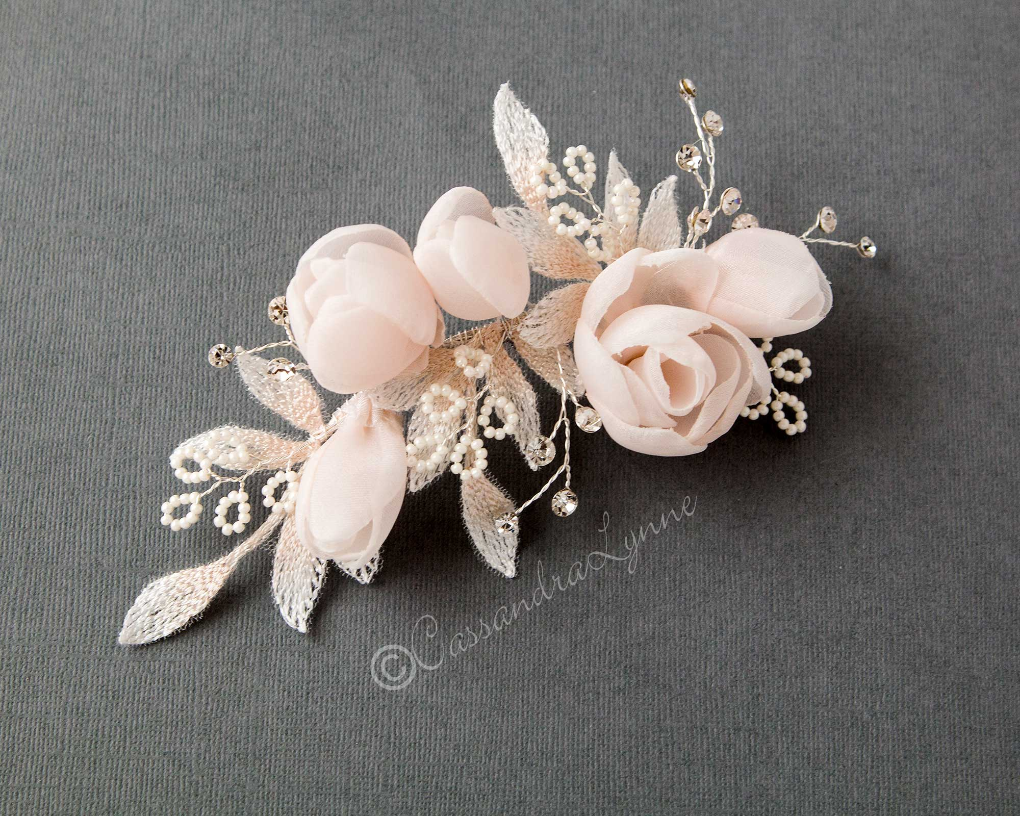 Blush Pink Flowers Bridal Hair Clip