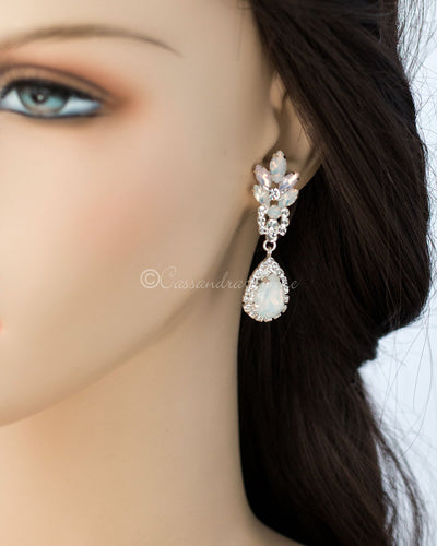 White and Pink Opal Crystal Earrings