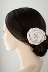 Wedding Hair Flower Clip of Satin and Chiffon with Pearls