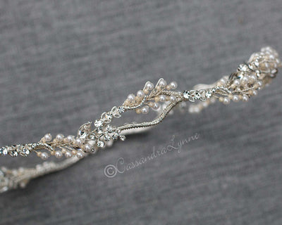 Delicate Beaded Branches Bridal Halo Crown