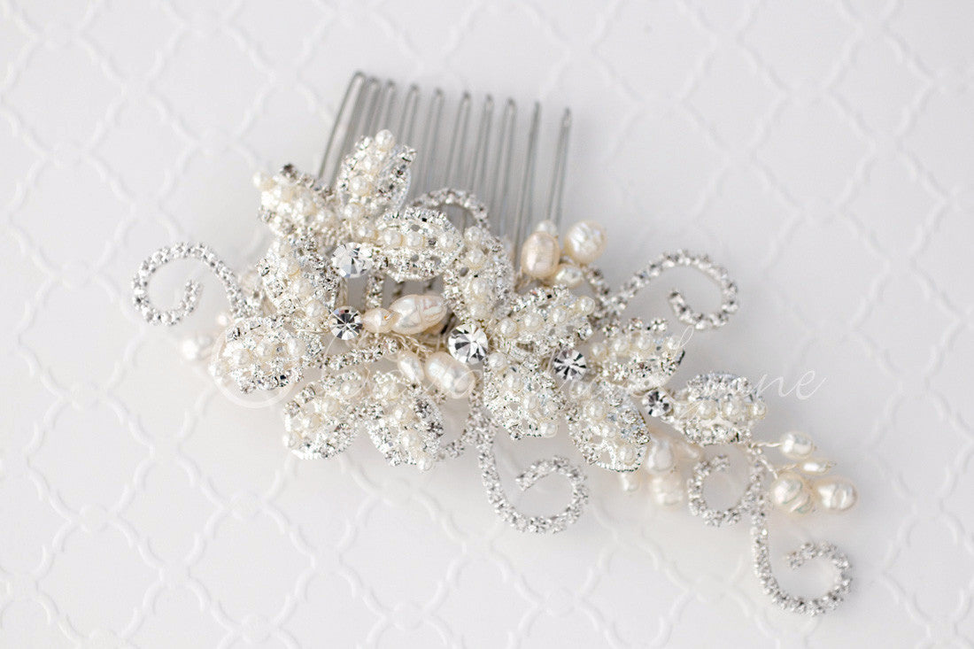 Vintage inspired pearl rhinestone bridal hair comb for Where to buy wedding accessories