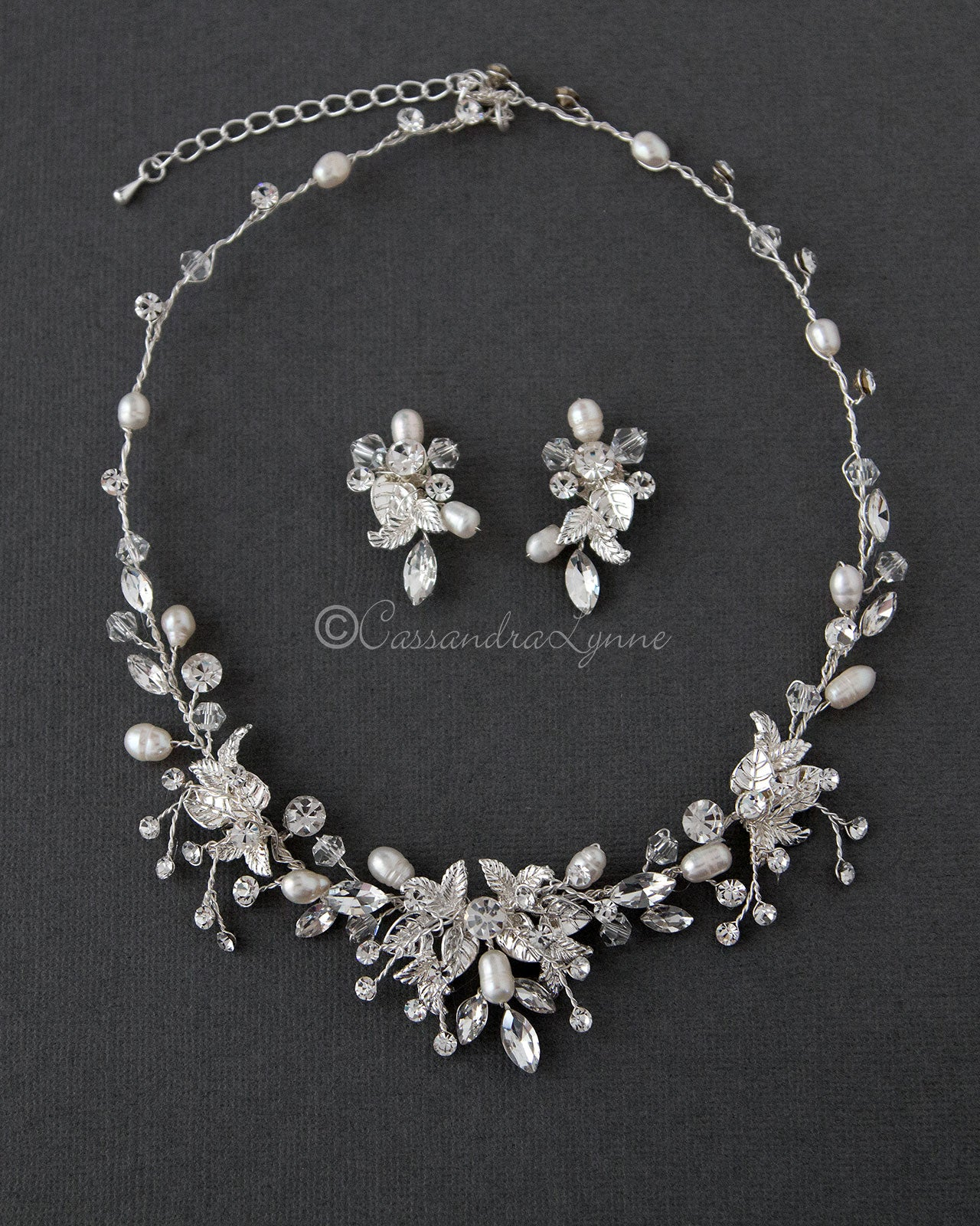 Pearl and Crystal Leaf Bridal Necklace Set